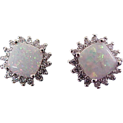 Scintillating OPAL 2CW ~ Square Cut Crown  Set ~ Silver Plate Post Earrings