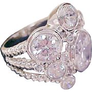 Bling & Glitz 8 Graduated  Sizes Cubic Zirconia ~ 18K White gold PLATE ~ Size 10 1/2