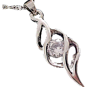 Silver Plate PENDANT and Silver Tone Chain CUBIC ZIRCONIA Round  Cut  ~ Necklace