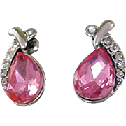 Rose Pink SWAROVSKI Pear Cut Crystal & CZ pave` ~Silver Plate Post Earrings