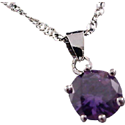 Stunning Genuine Amethyst Pendant & Sterling Double Twisted Chain