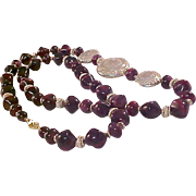 Mid Century Swirled Purple!Magenta Glass Beads~Gold Tone Spacers  & FOCAL Necklace