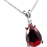 Genuine RUBY Teardrop  Sterling PENDANT and  Sterling Snake Chain Necklace~ ITALY
