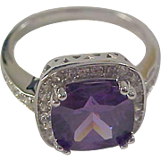 Sterling Silver Genuine AMETHYST Cocktail Ring  ~ 6 TCW Flanked by CZ's