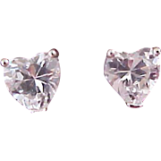 2.00 CTTW Sterling Silver Heart Studs made with Swarovski Elements