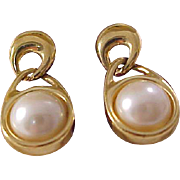 Lavish Signed  TRIFARI (All Caps) Glass Pearl Cabochon set in Gold Plate  Dangle (Post)