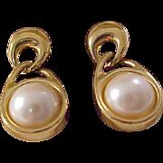 Lavish Signed  TRIFARI (All Caps) Glass Pearl Cabochon set in Gold Plate  Dangle (Post)