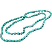 47 Inches of Versitle Genuine TURQUOISE ~Heavy Bead Necklace ~ 114.8 grams