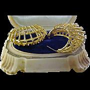 Cutwork Filigree Large Gold Plate HOOPS  Post Earrings