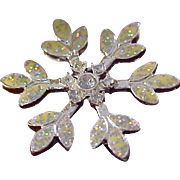 CHRISTMAS STAR ~ Speckled glittery (Opal Resemble)   in Silver Tone BROOCH