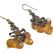VICTORIAN Inspired ~ Peach-Orange Lucite Drop Brass Dangle Earrings