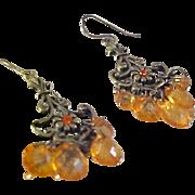 VICTORIAN Inspired ~ Peach-Orange Lucite Drop Brass Dangle Earrings