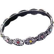 Varied Multiple Rhinestone Antiqued Silver Plate Bangle