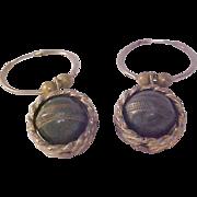 Moss Green Encased in Braid Gold Plate Earrings