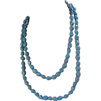 47 Inches of Versatile Genuine TURQUOISE ~Heavy Bead Necklace ~ 114.8 grams