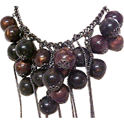 "Scintillating Festoon-Bib Dangling Glass ""Bing Cherries"" Necklace by Designer ART"
