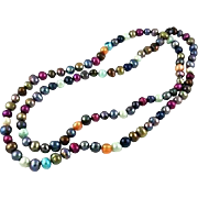 "Never ending ~ 36"" OF Genuine Freshwater MULTICOLOR  Pearl Endless Necklace~101.7 GRAMS"