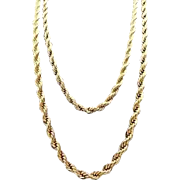 14K Gold Plated ~English Rope Design~ Chain Necklace~Torsade ~ 101.7 gram wt.
