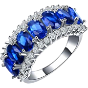 Plethora of Stunning Marquis Cut LAB Created Blue Sapphire & Pave` CZ's~18K White Gold Plate Ring~ Size 8