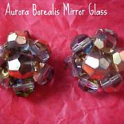 Aurora Borealis Mirror Glass Hand Wired Clip Earrings