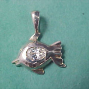 SALE - Sterling Silver 925 Cubic Zirconia Fish Charms/Pendant