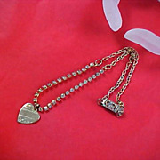 VINTAGE Sweet Diamante and Engraved Gold Tone Heart Necklace