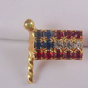 Celebrate America~USA Red-White~Blue Rhinestone Lapel Pin or Tie Tac