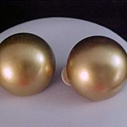Rare Designer F.O. Inc - Gold Plate Dome Button Clip Earrings
