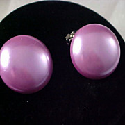 Exquisite 1950's LILAC BUTTON Clip Earrings