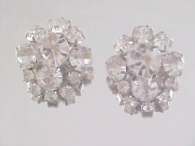 D & E Diamante   HEADLIGHT & round Cut Rhinestone Clip Earrings