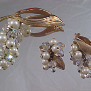 Genuine Crystals - Simulated Pearls  Gold Plate Demi Parure - Brooch & Clip Earrings