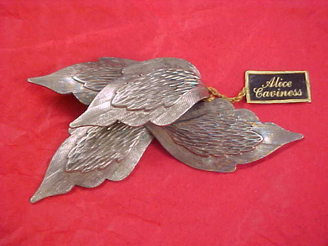 ALICE CAVINESS Silver Plate Dimensional Brooch - Mint with Original Tags
