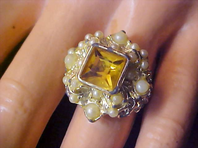 REDUCED~Unique Square Cut Amber  R.S. & Simulated Pearl Adjustable Ring