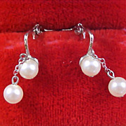 Double Simulated Dangle Pearls and Silver Plate Clip Earrings