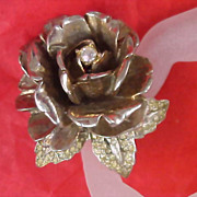 FESTIVE - Massive Dimensional Rose & Diamante Brooch/Pin - Circa 1930