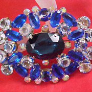 FREE Ship~ Blue Art Glass - Clear Crystals & Blue Sapphire Rhinestone Brooch