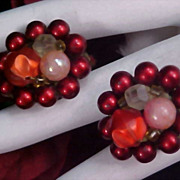CHRISTMAS RED Hand Wired Beads, Signed JAPAN Old Clip Earrings - Circa 1940's