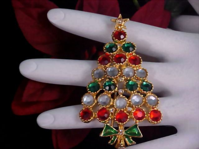 Bezel Set Rhinestones CHRISTMAS TREE Gold Plate Brooch/Pin