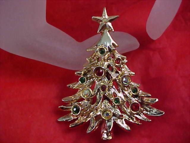 TANCER II CHRISTMAS TREE - Rhinestone Dimensional Brooch/Pin