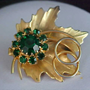 EMERALD Green Rhinestone Dimensional Gold Plate Brooch/Pin