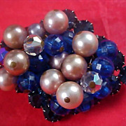 Blue Sapphire Crystals~Rhinestones AB Crystals & Simulated Hand Wired Pearls Brooch