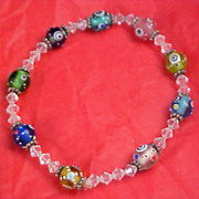 FABULOUS Wedding Cake Art Glass & Bicone Crystal Beads Bracelet