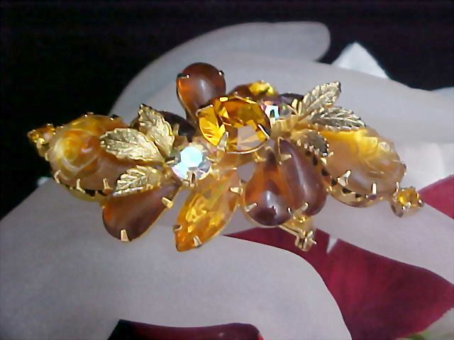 Mid Century  Carved & Molded  Amber Glass & Topaz & Amber Rhinestone Brooch
