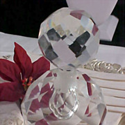 Impeccable  Bohemian Hand Cut Heavy LEAD CRYSTAL Perfume Bottle ~ 1 1/2 lbs.Before packing)