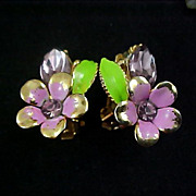 Sweet VIOLETS ~ Metal & Enamel flowers & Marquis Cut Lavender Rhinestone Earrings