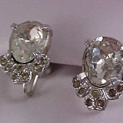 Pear Cut Cubic Zirconia and Diamante Silver Rhodium Plate Screw Back Earrings