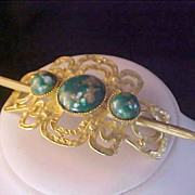 Retro Gold Fluss & Green Cabochon Gold Plate HAIR ORNAMENT
