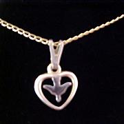 1/20 14K Gold Signed CROSS~ HEART Pendant ~ Silver Plate DOVE Insert Pendant & Chain