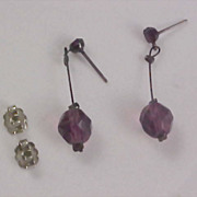 Simulated Amethyst by AVON ; Crystal Dangle Post  Earrings