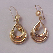 FREE  Ship ~ Pear ~  Teardrop  Shape Open Gold Plate  Earrings
